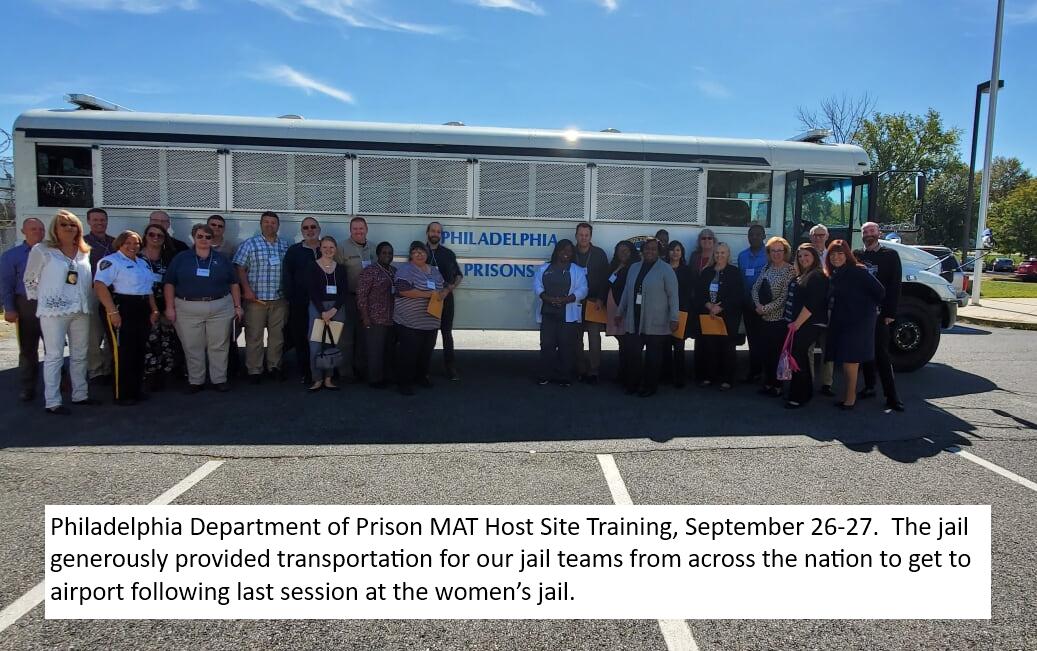 Philadelphia Department of Prison MAT Host Site Training, September 26-27, 2019.